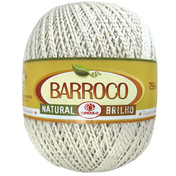 Barbante Barroco Natural Brilho nº6 - Prata 700g (759m)