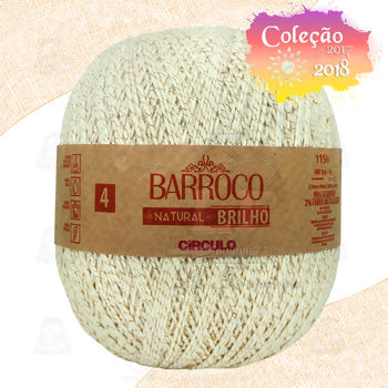 Barbante Barroco Natural Brilho nº4 - Ouro 700g (1150m)