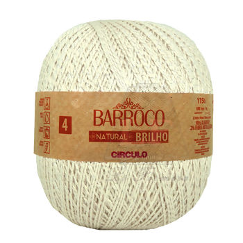 Barbante Barroco Natural Brilho nº4 - Prata 700g (1150m)